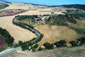 Aerial view of Pienza fields, Tuscany, Italy