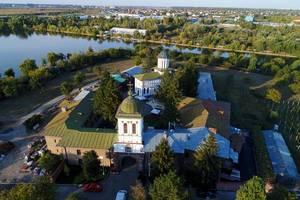 Aerial view of Plumbuita Monastery in Bucharest, Romania