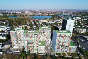 Aerial view of residential area of blocks of flats in Bucharest, Romania