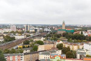 Aerial view of S-Train station, railway and health department Spandau in Berlin