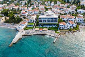 Aerial view of Spetses Hotel  with private Beach area on a greek island, at the Argolic Gulf