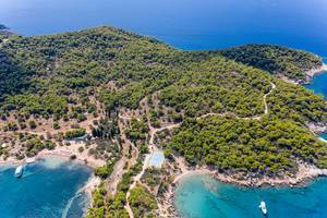Aerial view of the green Island Spetses with its pine forest in the blue Argolic Gulf