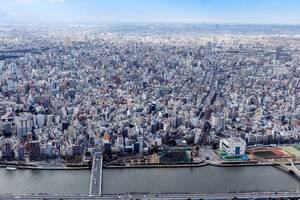 Aerial view of Tokio on a sunny day