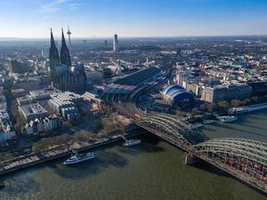 Aerial view of tourist hot spot dome and Rhine river  in Cologne, Germany