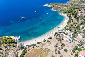 Aerial view shows sport boats near the Agioi Anárgyroi Beach, on the Greek island Spetses in the Argolic Gulf