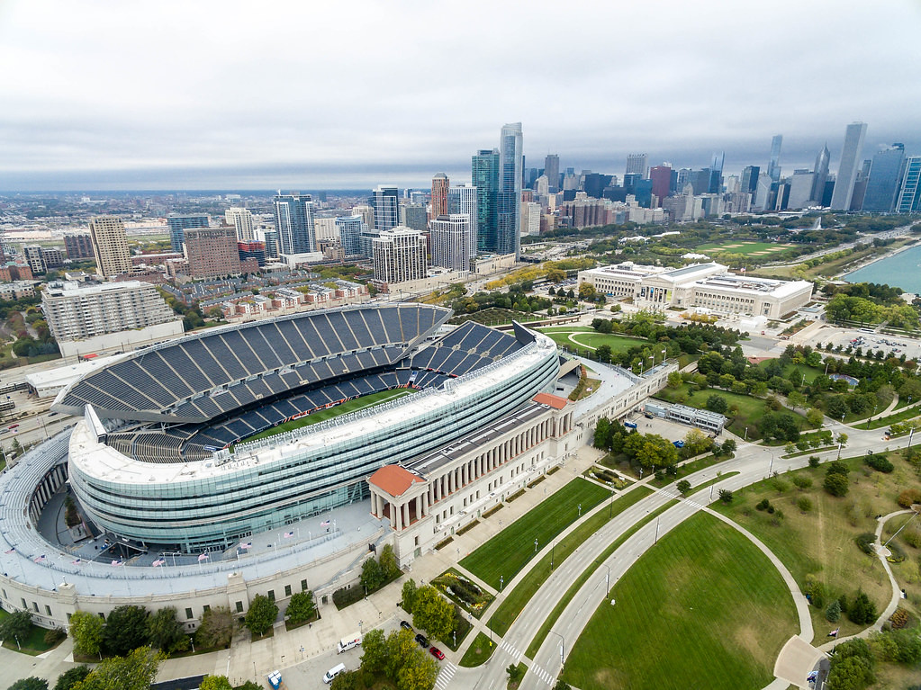 Aerial view - soldier field, museum campus and the skyline of chicago