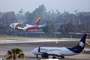 Aeromexico and Southwest airplanes in Los Angeles Airport LAX