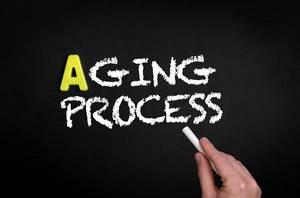 Aging process text on blackboard