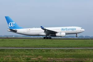 Air Europa plane touching down at Amsterdam Airport