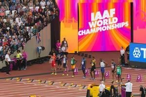 Akani Simbine, Justin Gatlin und weitere 100-Meter-Läufer bei den IAAF Leichtathletik-Weltmeisterschaften 2017 in London