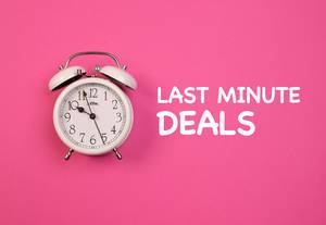 Alarm clock with Last minute deals text