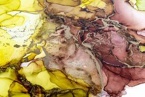 Alcohol ink brown, green, yellow, and gold mix colors