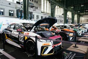 All Jaguar i-Pace eTrophy racing cars charging batteries after the race