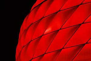 Allianz Arena, red light, close-up night view