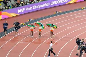 Almaz Ayana, Tirunesh Dibaba und Dera Dida (10.000 Meter Lauf) bei den IAAF Leichtathletik-Weltmeisterschaften 2017 in London