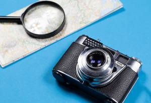 Alte Kodak Kamera mit Karte