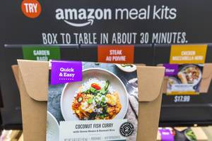 "Amazon meal kit ""Coconut Fish Curry - with green beans and basmati rice"" at Whole Foods Market"