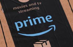 Amazon Prime logo on a package box