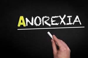 Anorexia text on blackboard