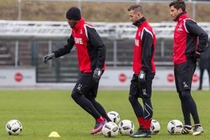 Anthony Modeste, Marcel Hartel und Jonas Hector beim Training