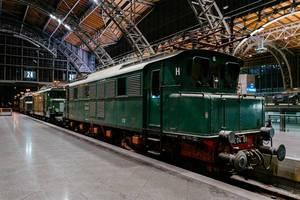 Antique German Reichsbahn green cargo locomotive 3/4 view