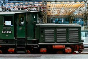 Antique German Reichsbahn green cargo locomotive side view