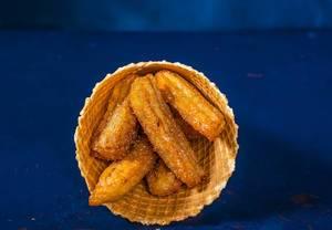 Appetizing fried golden Belgian waffle