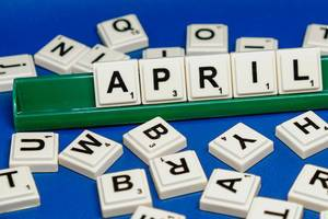 April text surrounded by scrambled letters