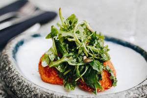 Arancini with rucola. Italian kitchen.