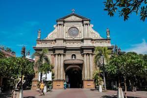 Architektur der Kathedrale Dumaguete (Flip 2019) in der Außenansicht
