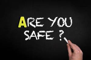 Are you safe text on blackboard