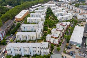 "Ariel view of a typical German city apartment houses colony in Cologne-Ehrenfeld at ""Melatengürtel"""
