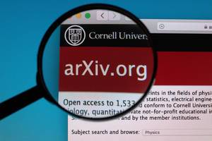 arXiv.org logo under magnifying glass