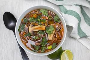 Asian Soup with Mushroom and Carrot Top View  Flip 2019