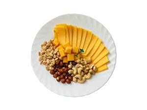Assorted cheese and nuts in the plate on white background (Flip 2019)