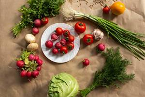 Assortment of healthy fresh vegetables background (Flip 2019)