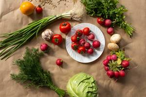 Assortment of healthy fresh vegetables background