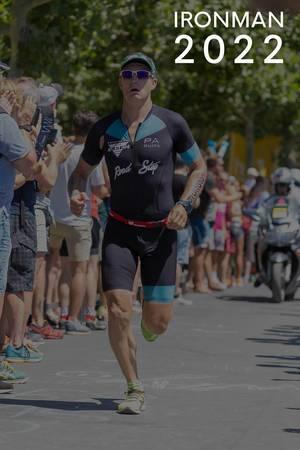 """Athlete running a marathon, next to the title """"Ironman Triathlon""""."""