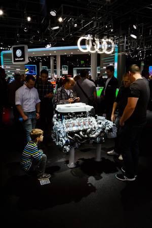 Audi-Motor bei der IAA 2017 in Frankfurt am Main