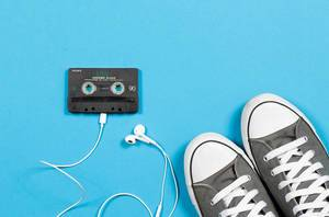 Audio cassette with sneakers