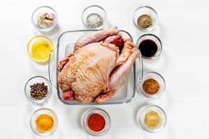 Aufnahme von oben: rohes Huhn mit Gewürzen, Saucen, Honig und Knoblauch. Zutaten für ein leckeres Rezept