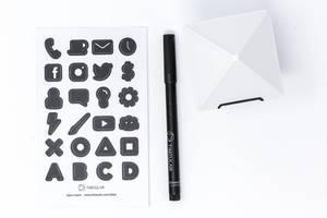 Aufsicht - TIMEULAR - ZEI - Zeit Tracking Octagon in Weiß mit Labelstift und Sticker