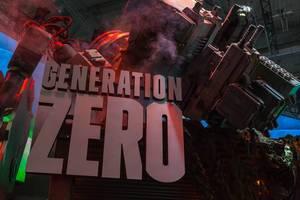 Aufwändige Kulisse mit Mech am Messestand von Generation Zero