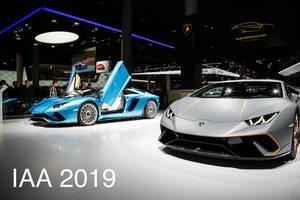 Ausstellung verschiedener Modelle von Lamborghini bei der IAA 2017 in Frankfurt am Main tbd