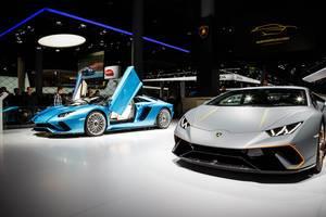 Ausstellung verschiedener Modelle von Lamborghini bei der IAA 2017 in Frankfurt am Main