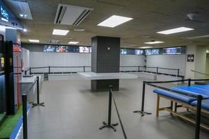 Ausstellungsraum des Camp Nou Fußballmuseums und der Barca Stadion-Tour in Barcelona, Spanien