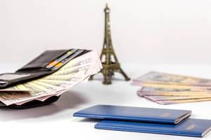 Ausweis-Reisepässe und offener Geldbeutel mit Geldscheinen vor dem verschwommenen Eiffelturm, vor weißem Hintergrund