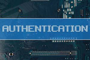 Authentication text over electronic circuit board background