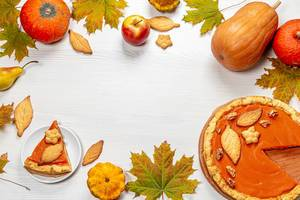 Autumn frame with leaves, pumpkin pie, pumpkins, apples and homemade cookies on white wooden background (Flip 2019)