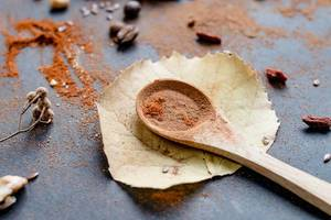 Autumn mood with autumn leaves, wooden spoon with cinnamon